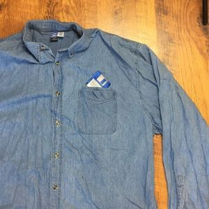 VINTAGE FLOPPY DISK DENIM BUTTON DOWN
